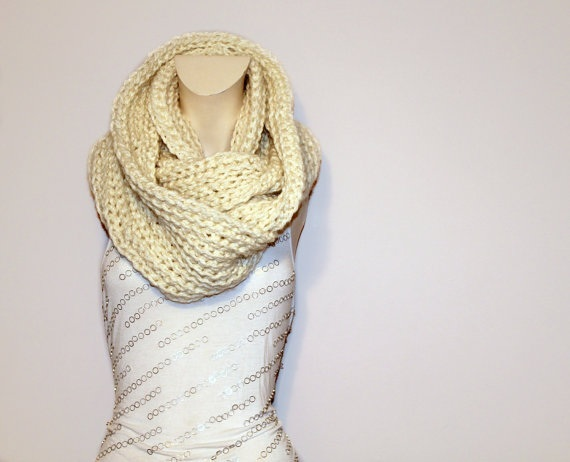 Oversized Chunky Cowl Scarf in Cream